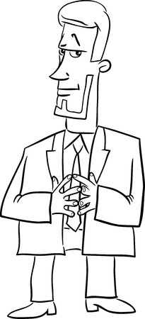 principal: Black and White Cartoon Illustration of Boss or Manager Business Character