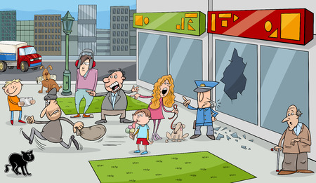 onlooker: Cartoon Illustration of Street Situation with Running Thief and Onlookers People