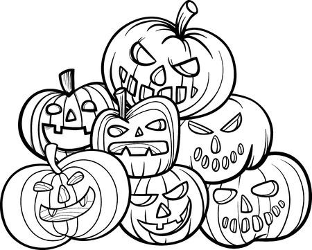 black jack: Black and White Cartoon Illustration of Halloween Pumpkins or Jack Lantern Group Coloring Book Illustration