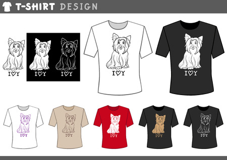 inscription: Illustration of T-Shirt Design Template with Cute Yorkshire Terrier Dog