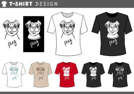 pedigreed: Illustration of T-Shirt Design Template with Funny Cartoon Pug Dog Illustration