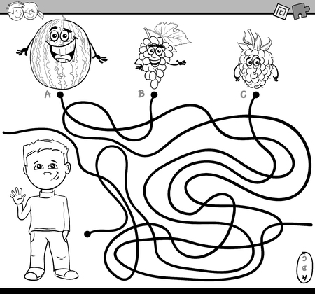 boy kid: Black and White Cartoon Illustration of Educational Paths or Maze Puzzle Activity with Kid Boy and Fruits Coloring Book