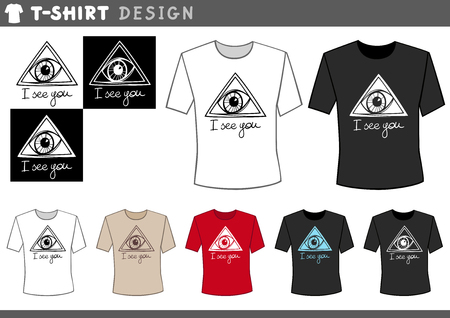 eye of providence: Illustration of T-Shirt Design Template with Eye of Providence on Lettering Illustration