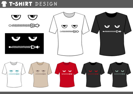 zipped: Illustration of T-Shirt Design Template with Eyes and Zipped Lips Illustration