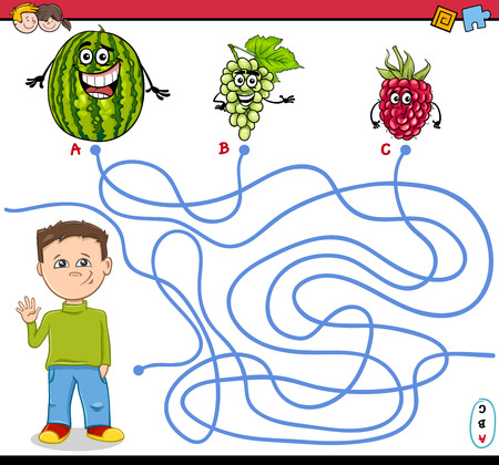 boy kid: Cartoon Illustration of Educational Paths or Maze Puzzle Activity with Kid Boy and Fruits