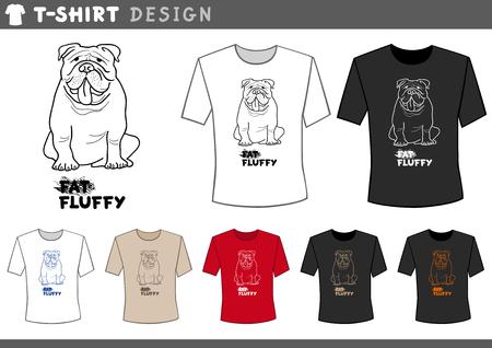 english bulldog: Illustration of T-Shirt Design Template with English Bulldog