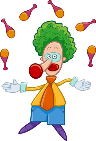 jugglery: Cartoon Illustration of Funny Clown Circus Character Juggling on the Show Illustration