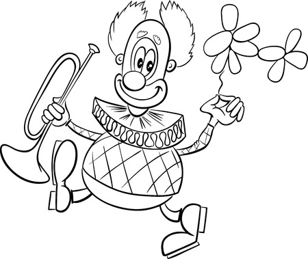 Black and White Cartoon Illustration of Funny Clown Circus Character with Trumpet and Balloon Coloring Book Vectores