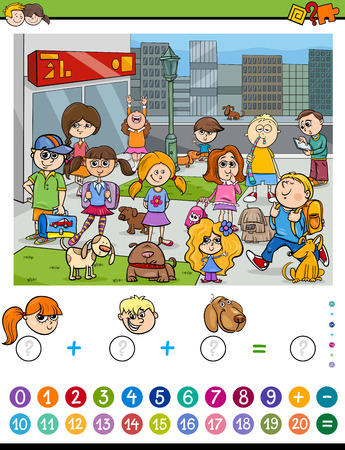 addition: Cartoon Illustration of Educational Mathematical Counting and Addition Activity Task for Children with Kids and Dogs in the City Illustration