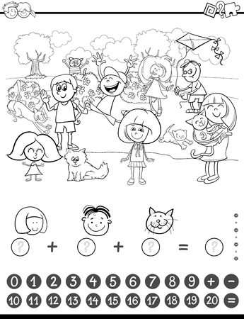 addition: Black and White Cartoon Illustration of Educational Mathematical Counting and Addition Activity Task for Children with Kids and Cats Coloring Book Illustration