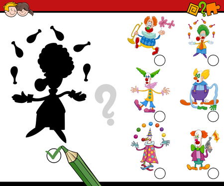 preschool child: Cartoon Illustration of Educational Shadow Activity Task for Children with Clowns Characters