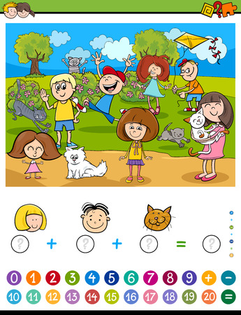 addition: Cartoon Illustration of Educational Mathematical Counting and Addition Activity Task for Children with Kids and Cats Illustration