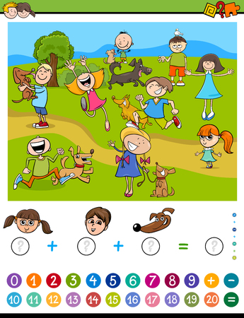 addition: Cartoon Illustration of Educational Mathematical Counting and Addition Activity Task for Children with Kids and Dogs