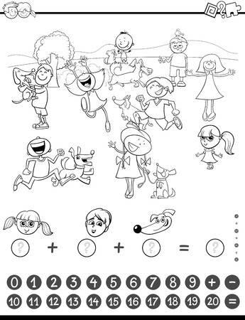 addition: Black and White Cartoon Illustration of Educational Mathematical Counting and Addition Activity Task for Children with Kids and Dogs Coloring Book Illustration