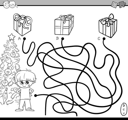 boy kid: Black and White Cartoon Illustration of Educational Paths or Maze Puzzle Activity with Kid Boy and Christmas Presents Coloring Book