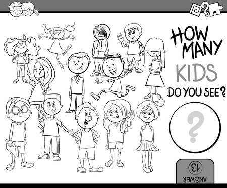 Black and White Cartoon Illustration of Educational Counting or Calculating Task for Children with Kid Characters Crowd Coloring Book Illustration