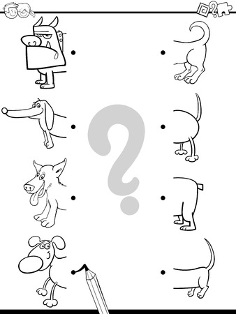 white dog: Black and White Cartoon Illustration of Preschool Education Activity of Matching Halves Task with Dog Characters for Coloring