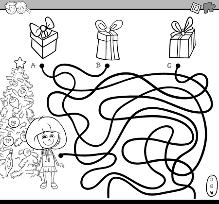Black And White Cartoon Illustration Of Educational Paths Or Maze Puzzle Activity With Little Girl