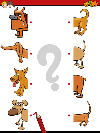 Cartoon Illustration of Education Activity Game of Matching Halves with Dog Animal Characters Illustration