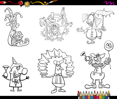 jugglery: Black and White Cartoon Illustration of Circus Clown Characters Collection Coloring Book