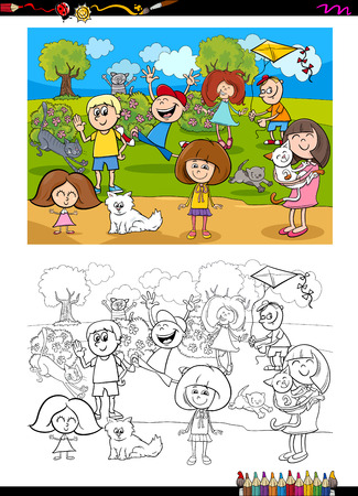 Ilustración De Dibujos Animados De Niños Con Actividad De Libro De ...