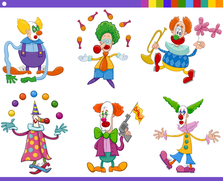jugglery: Cartoon Illustration of Circus Clown Characters Collection