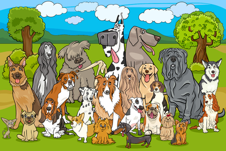 Cartoon Illustration of Purebred Dogs Large Group against Rural Landscape or Park Scene Illustration