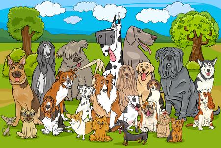 Cartoon Illustration of Purebred Dogs Large Group against Rural Landscape or Park Scene Illustration