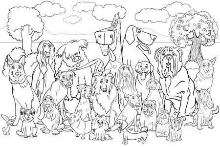 afghan hound: Black and White Cartoon Illustration of Purebred Dogs Large Group against Park Scene Coloring Book