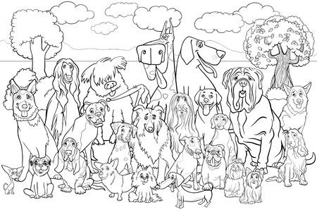 Ilustración de dibujos animados Blanco y Negro del Grupo grande de pura raza perros contra la escena del parque Coloring Book