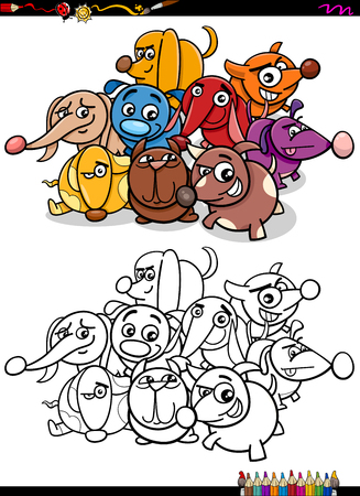 puppies: Cartoon Illustration of Funny Dog Pet Characters Group Coloring Book