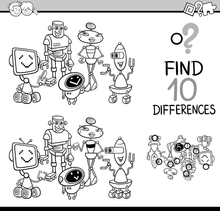 pastimes: Black and White Cartoon Illustration of Finding Differences Educational Activity for Children with Robots Fantasy Characters Coloring Book