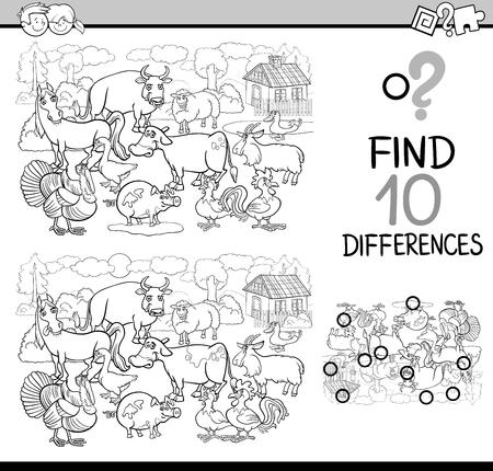Schwarz Und Weiß Karikatur Illustration Der Unterschiede Educational ...
