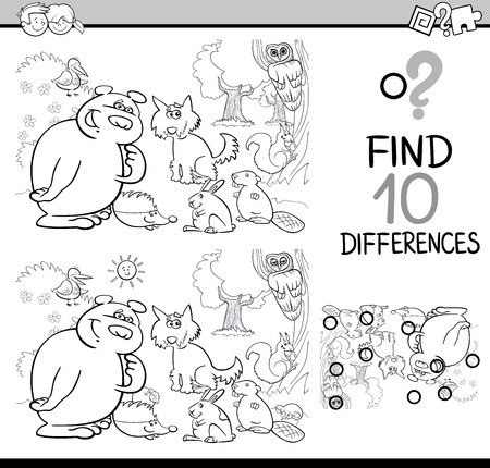 Black and White Cartoon Illustration of Finding Differences Educational Activity Task for Kids with Forest Animal Characters Coloring Book Zdjęcie Seryjne - 64102814