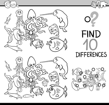 Black and White Cartoon Illustration of Finding Differences Educational Activity Task for Children with Sea Life Animal Characters Coloring Book