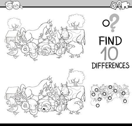 farm animals: Black and White Cartoon Illustration of Finding Differences Educational Activity Task for Kids with Farm Animal Characters Coloring Book