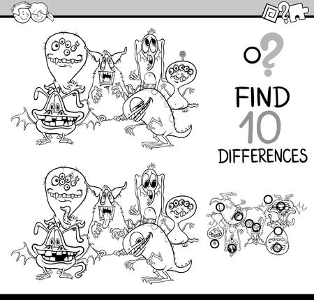 Dibujos Animados De Blanco Y Negro Ilustracion De Encontrar
