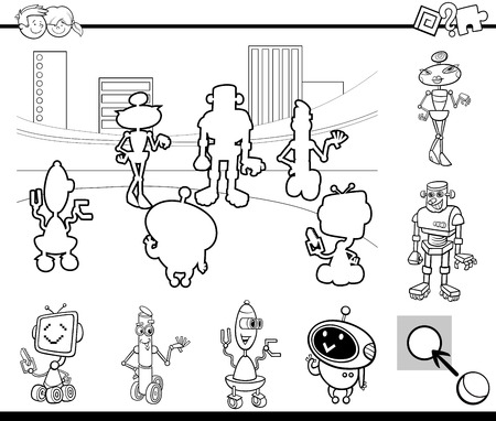 Black and White Cartoon Illustration of Educational Activity Game for Preschool Children with Robot Characters Coloring Book