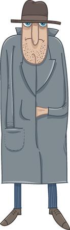 Cartoon Illustration of Ruffian Man in Hat and Coat
