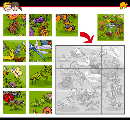 bugs: Cartoon Illustration of Education Jigsaw Puzzle Activity Task for Children with Insect and Bug Animal Characters Illustration