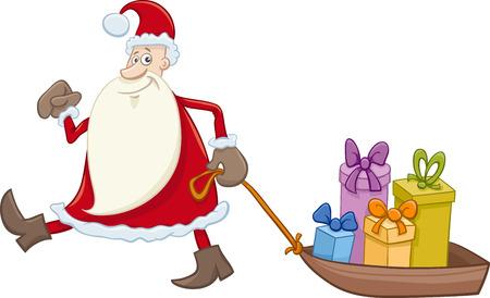 weihnachtsmann lustig: Cartoon Illustration von Santa Claus Weihnachtsgeschenke auf dem Schlitten