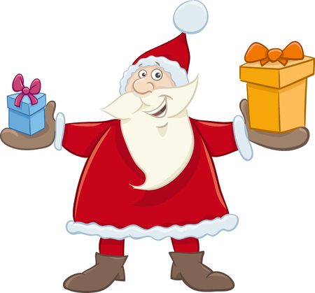 christmas time: Cartoon Illustration of Santa Claus with Present on Christmas Time Illustration