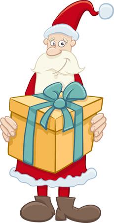 cartoon present: Cartoon Illustration of Santa Claus with Big Christmas Present Illustration