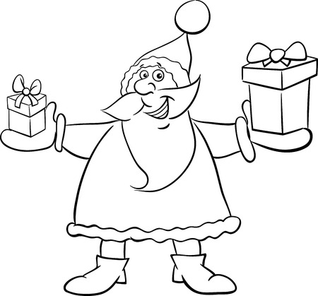 cartoon present: Black and White Cartoon Illustration of Santa Claus with Present on Christmas Time Coloring Book