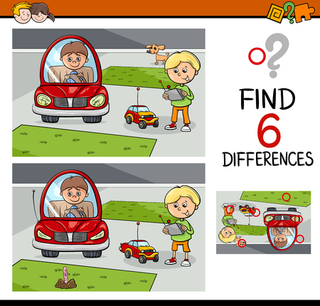 Cartoon Illustration of Finding Differences Educational Activity Game for Kids with Boy Characters