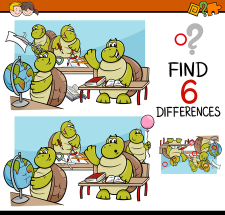 educativo: Cartoon Illustration of Finding Differences Educational Activity Game for Children with Turtle Student Characters Vectores