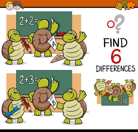 Cartoon Illustration de trouver des différences d'activités éducatives de jeu pour les enfants avec la tortue pupillaires Caractères Banque d'images - 64102977