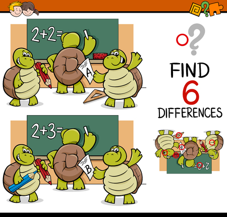 Cartoon Illustration of Finding Differences Educational Activity Game for Children with Turtle Pupil Characters Vectores