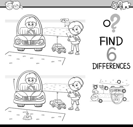 Black and White Cartoon Illustration of Finding Differences Educational Activity Game for Kids with Boy Characters for Coloring Book