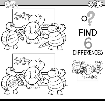 student book: Black and White Cartoon Illustration of Finding Differences Educational Activity Game for Children with Turtle Student Characters Coloring Book